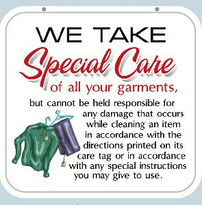 Special Care Dry Cleaning Sign