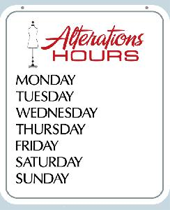 Alterations Hours Sign
