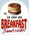 BREAKFAST Sandwiches Sign<br>#4005-A<br>Sign--HARD PANEL
