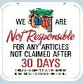 NOT RESPONSIBLE Sign<br>#1041-A--HARD PANEL